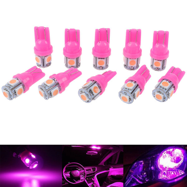 10st Pink T10 Wedge 5-SMD 5050 5W5 LED-skyltlampor Cle