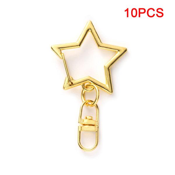 10st Star Pentagram ihålig nyckelring Nyckelring DIY Tillbehör L