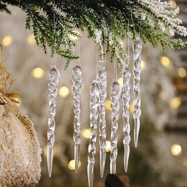 12ST Juldekoration Simulering Ice Xmas Tree Ornament Fa