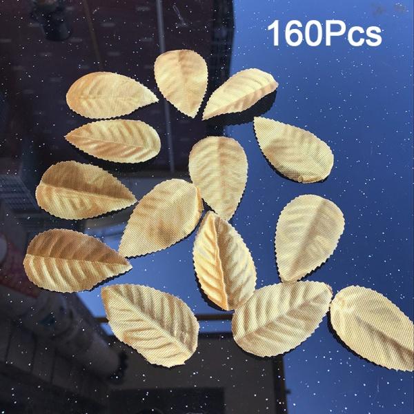 160st 4 färger gröna blad konstgjorda falska blommor bröllop dec g Gold