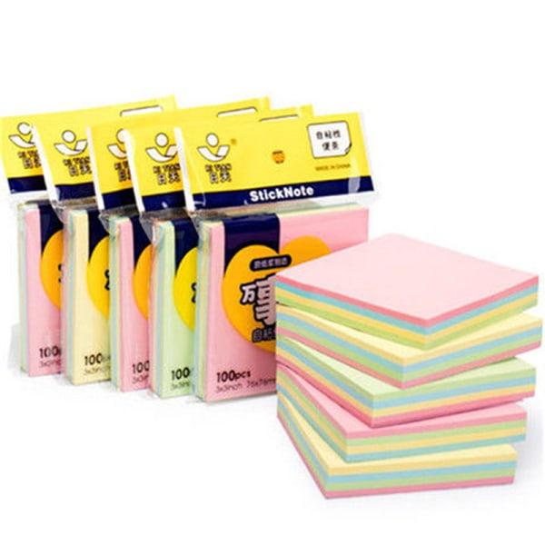 5 färger memo klistermärke papper 100 sidor fyrkantiga klisterlappar kontor colour