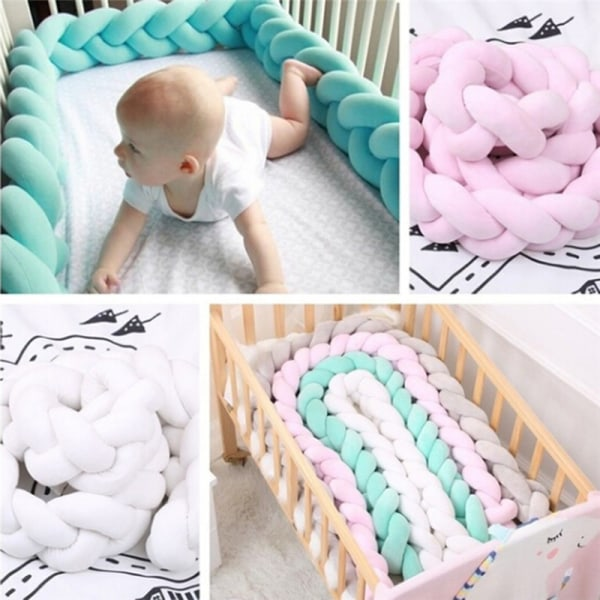1M / 2M baby mjuk knut kudde flätad spjälsäng stötfångare dekorativ säng