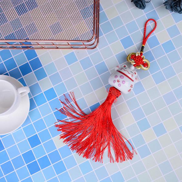 1PC söt lucky fortune keramik katt hänge hem bil prydnad d