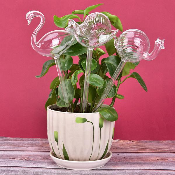 1 st Glasväxt Blommor Vattenmatare Självvattenfågeldesign