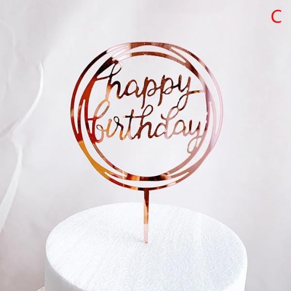 1PC Grattis på födelsedagen Cake Topper Akryl födelsedagsfest Dessert d