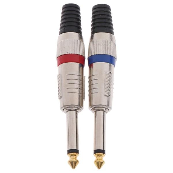 1st Mono core Jack 6,35 mm med guldpläterade 7 färger Audio Conne