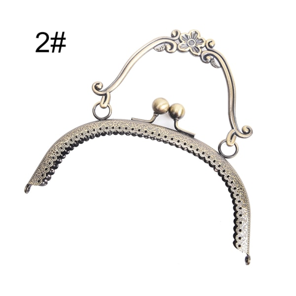 1X 16,5 cm Antik mässing Handväska Handtag Metallram Kiss Clasp L