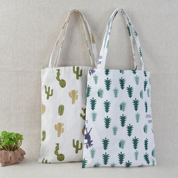 1x Pine kaktus linneväska tote ECO shopping utomhus canvas canvas
