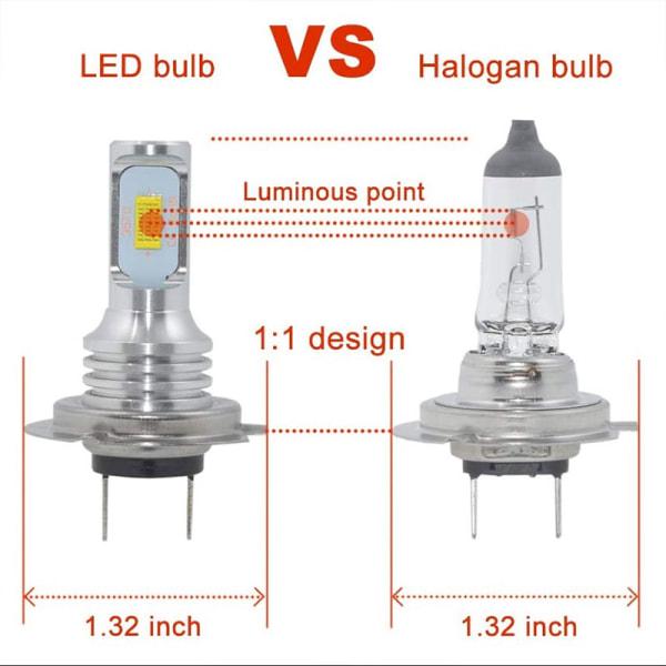 2ST H7 LED-bil Retro-passande glödlampor DRL H4 Strålkastare Bu