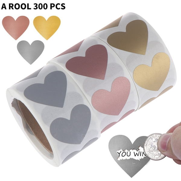 300st / rulle hjärtformade beläggningsklistermärken etiketter klistermärke för pa