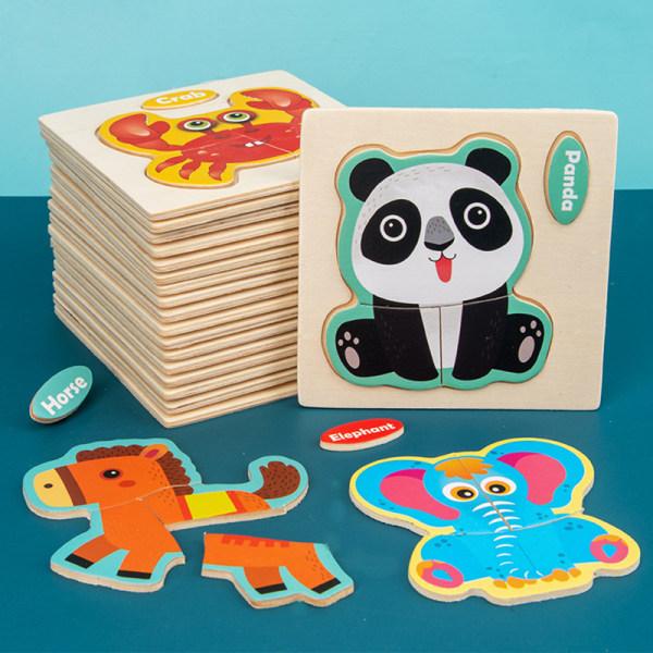 3D barn pussel pussel leksaker trä tecknade djur pussel barn