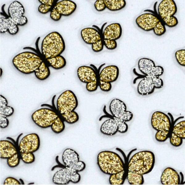 3D Glitter Butterfly Nail Art Stickers Dekaler Nail Tips Decorat