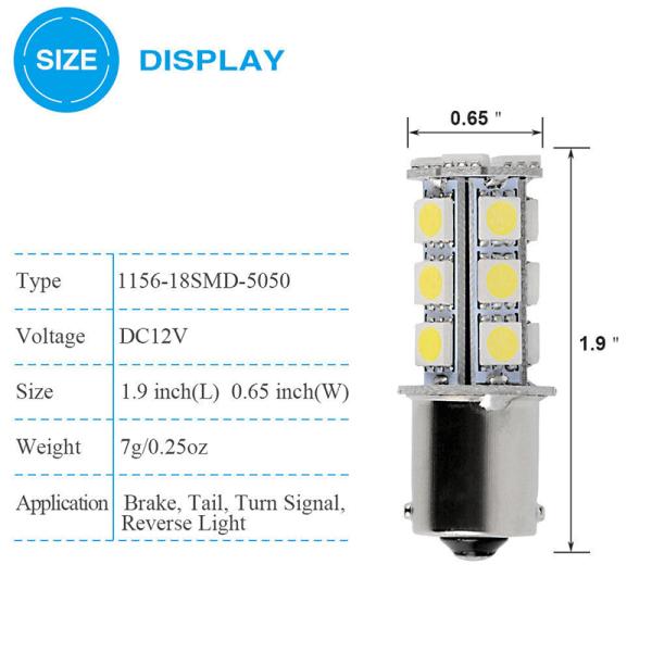 4st 12V 1156 BA15S 5050 18smd LED Vit bilsvansbroms signal