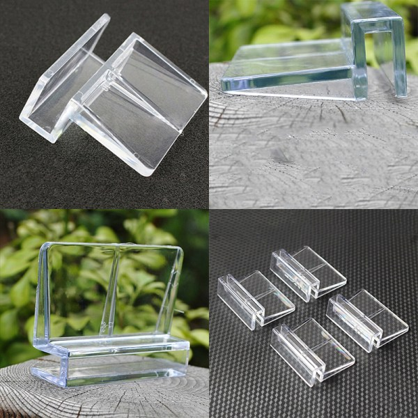 4st 6 / 8mm akvarietank klar plastklämmor Glasöverdrag starkt