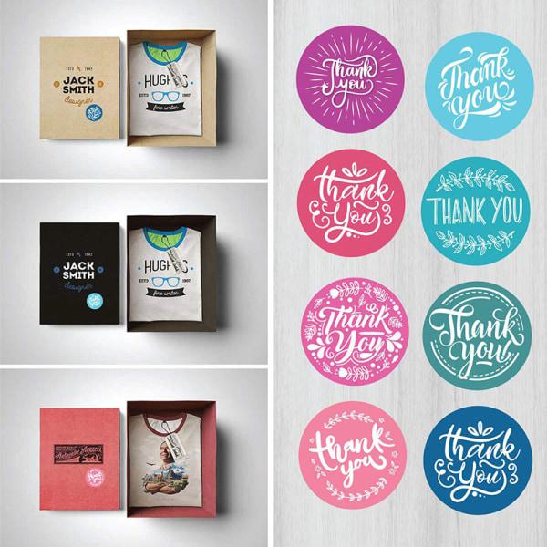500st Kraft runda tack Klistermärken förseglar etiketter klistermärken Förpackning