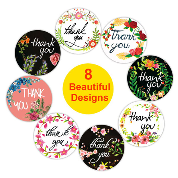 """500st / rulle tack klistermärken 1 """"bröllopsfest blommor handgjorda"""