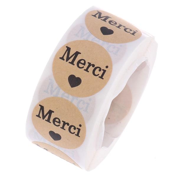 """500st / rulle klistermärken franska """"merci"""" tätningsetiketter scrapbooking för s"""