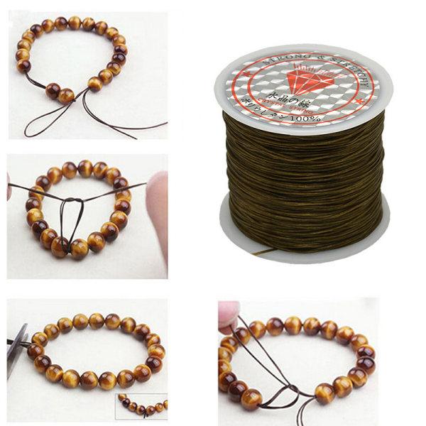 50M stark elastisk elastisk sladd Wire rep Armband Halsband Str