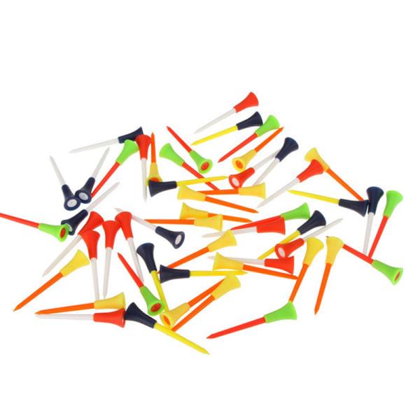 50st / påse Flerfärgad plast Golf Tees 83mm slitstark gummikus