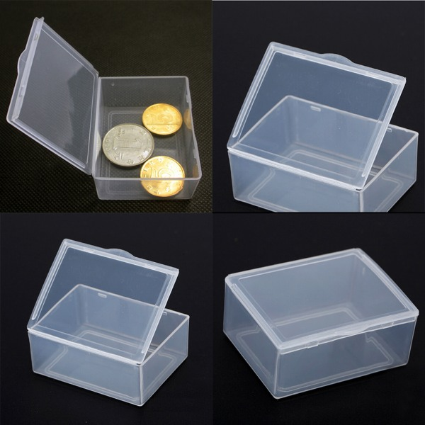 5st Transparent plastförvaringslåda klar rektangel Multipurp