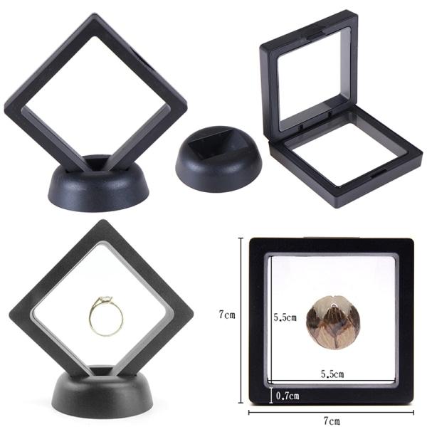 70 * 70mm svart 3d flytande smycken mynt display ram hållare låda