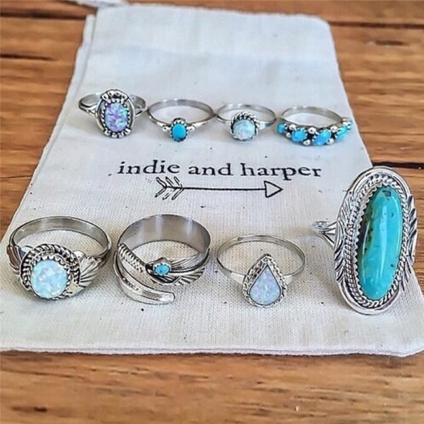 8PCS / Set Bohemian Women Silver Turkos Fingerringar Opal Rin