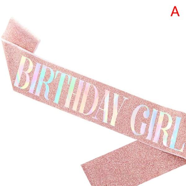 bling födelsedag flicka / drottning årsdagen dekoration glad satin sas A
