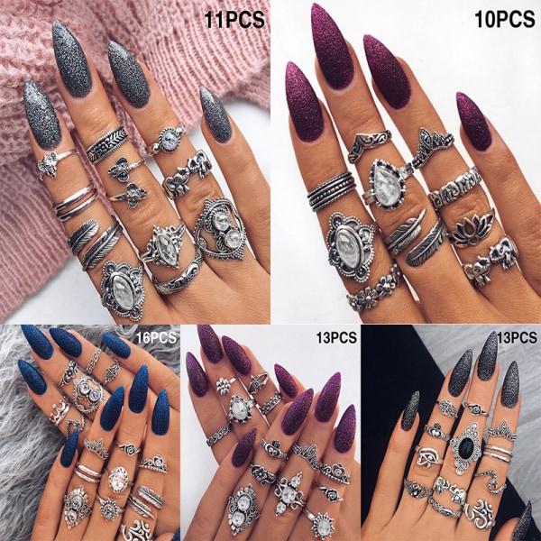 Bohemian Vintage Midi Finger Knuckle Rings Set Silver Finger Ri