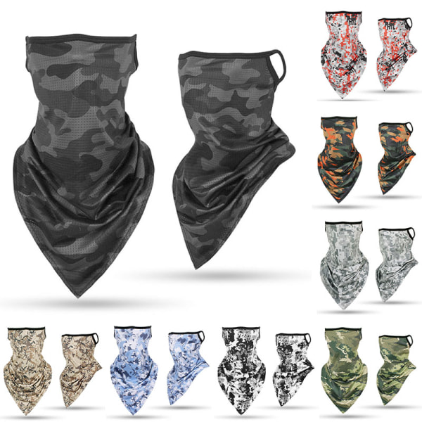 Kamouflage Face Guard Silk Earloop Balaclava Scarf Neck Headwea