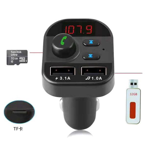 Bil Bluetooth trådlös adapter FM-sändare MP3-radio bilsats