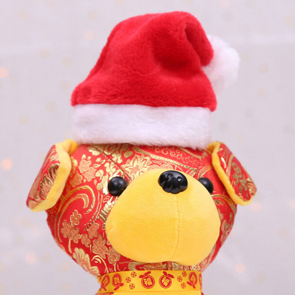 Jul husdjur santa hatt liten valp katt hund xmas semester kostym