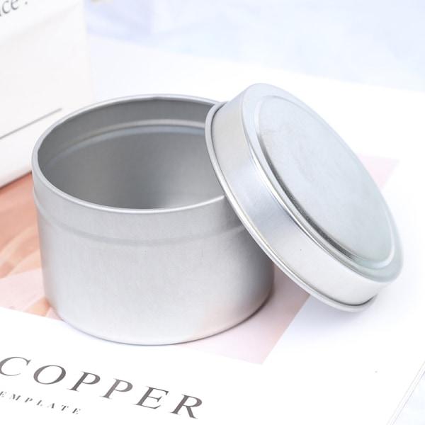 DIY runda ljusburkar 4 oz aluminiumburkar med lock kosmetisk stämpel