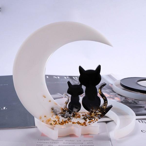 diy smiley moon harts mögel spegel moon fawn cat crystal epoxy mo C