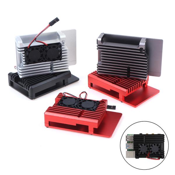 Dual Fans CNC-legeringsskal med kylflänsar för Raspberry Pi