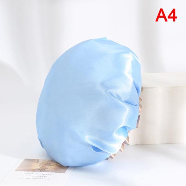 dusch satin hattar färgglada bad dusch mössor hår täcka dubbla wa Blue