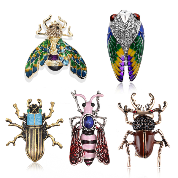 Emalj Animal Insect Bee Rhinestone Crystal Brooch Pin Bouquet