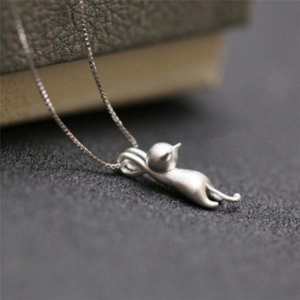 Mode söta kvinnor glamour Silver Cat Charm hänge kedja halsband