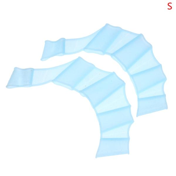 finger webbed handskar fenor hand flipper träning silikon simning ge Blue S