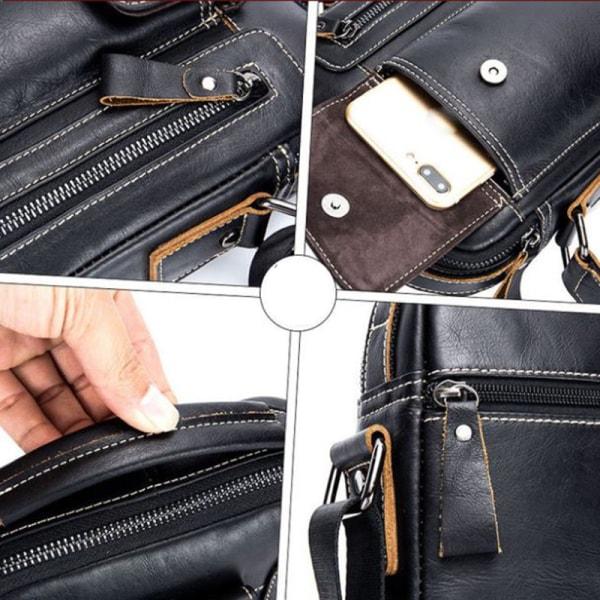 Äkta läder män Business Crossbody väska axelväskor Handba