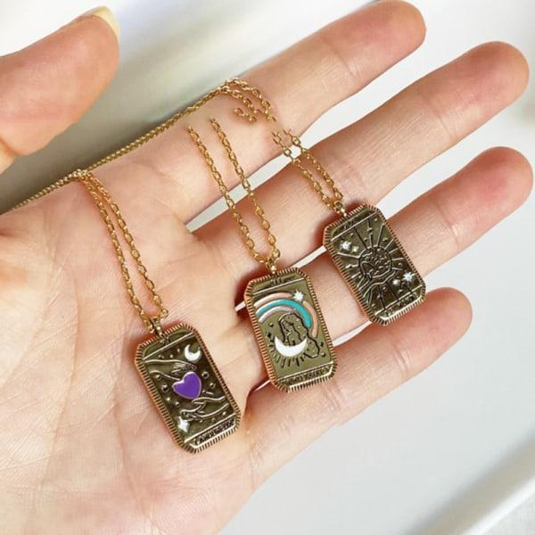 gotiskt tarotkort hänge halsband vintage fyrkantig amulett hänge A3