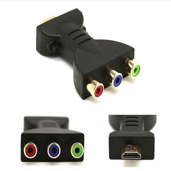 HDMI-hane till 3 RCA-videoljud AV-adapterkomponentomvandlare f
