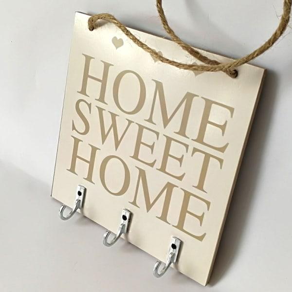 Hem söta hem Rustik vit trä hängande plack tecken med krok