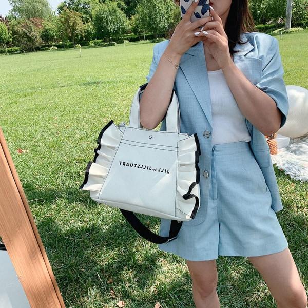 Kvinnor handväska i koreansk stil canvas stor kapacitet Ruffle Shoulde