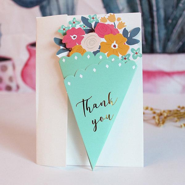 kreativa bukett bronsande gratulationskort Alla hjärtans dag födelsedag Light green