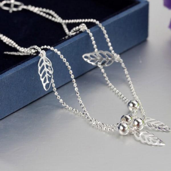 kvinnor silverpläterade vristblad fotled armband pärla fotleder