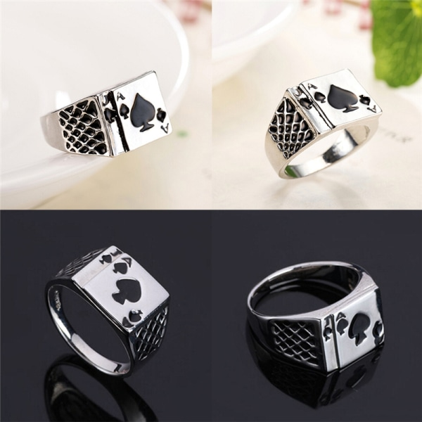 Herrsmycken Cool Black Enamel Spades Poker Ring Gentleman