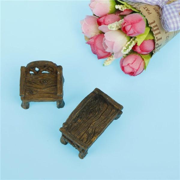 Mini-figurer Miniatyrträstolar Hartshantverk för trädgård Ho