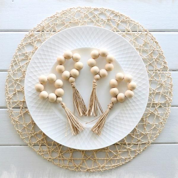 Nya 4st träpärla servettringar hållare bröllopsfest Hem Ta