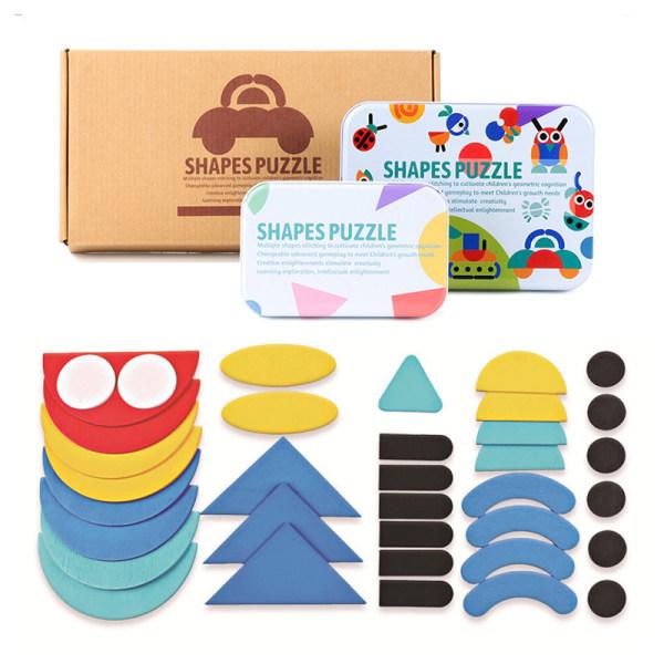 Ny Rolig Form 3D Pussel Barn Träleksak Barn Kognitiv Colo