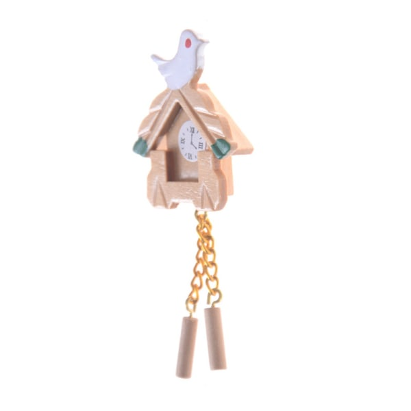 Ny miniatyr 1:12 Dolls House Furniture Mini Bird Wood Clock D